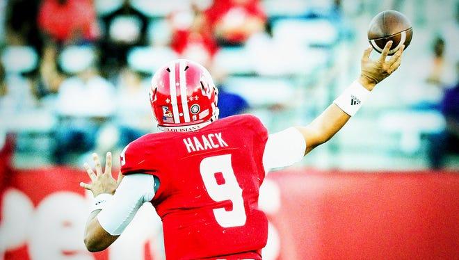 Ragin' Cajuns quarterback Brooks Haack throws a pass during a recent game.