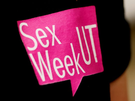 A member wears a UT Sex Week t-shirt during a discussion