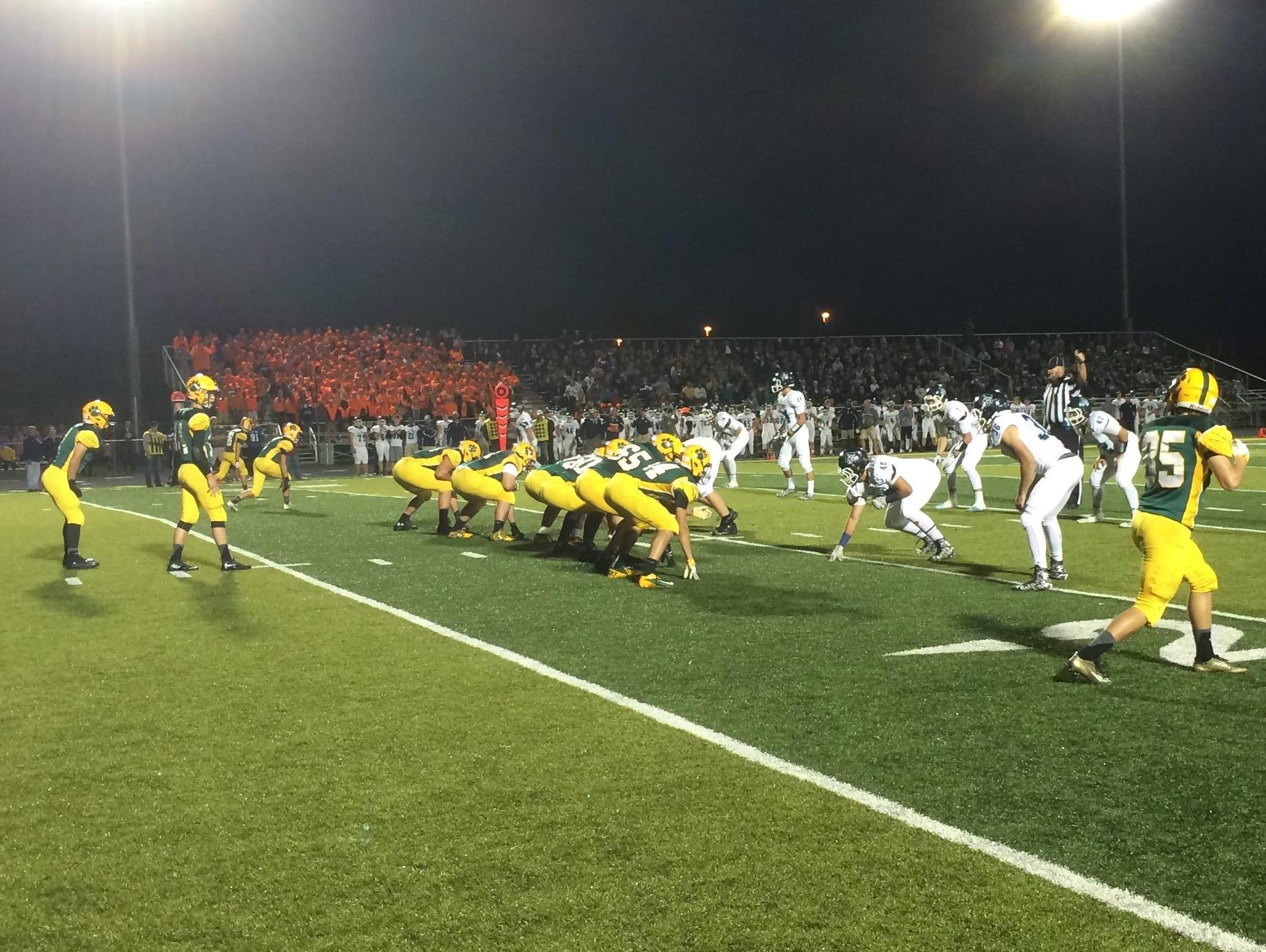 Ashwaubenon battles Bay Port during a football game Friday.