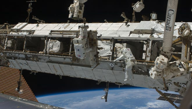 The ISS is the largest item built in space and reflects a great deal of light back to Earth.