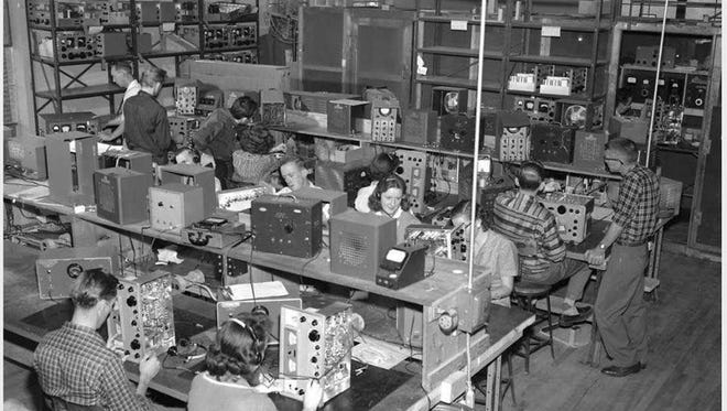 A packed production floor inside Hammarlund Radio's Mars Hill plant offers a glimpse of Madison County's industrial past.