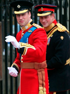 Prince William (waving) will serve as brother Prince Harry's best man at his wedding Saturday, just as Prince Harry did for him in 2011.