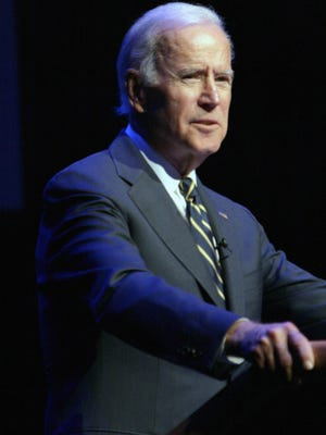 "Without mentioning President Donald Trump by name, former Vice President Joe Biden, speaking in Thousand Oaks Monday night, slammed ""phony populism"" and ""half-baked nationalism."""