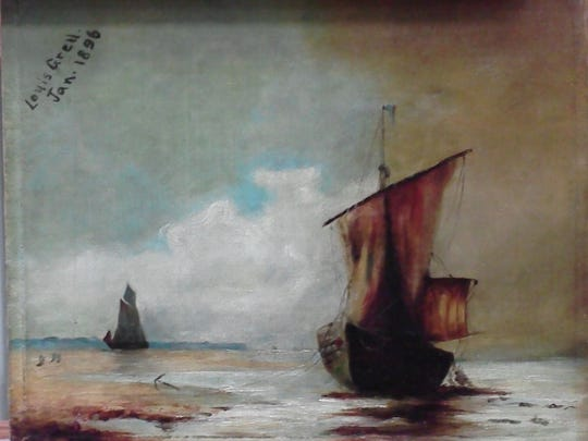 """An eight-year-old Louis Grell painted """"Sailing Vessels"""" in 1896."""