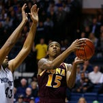 Sophomore swingman Deyshonee Much (15) is in his first season at Iona after transferring from Buffalo. He played in high school at Gates Chili.