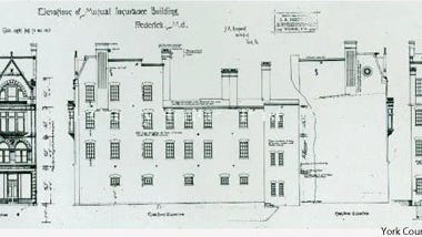 Elevations of 1887 Dempwolf plans for Mutual Insurance Company, Frederick, Maryland from York County Heritage Trust