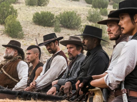 """Director Antoine Fuqua's remake of """"The Magnificent Seven"""" stars Vincent D'Onofrio (from left), Martin Sensmeier, Manuel Garcia-Rulfo, Ethan Hawke, Denzel Washington, Chris Pratt and Byung-hun Lee as the titular group assembled to fight a bandit."""