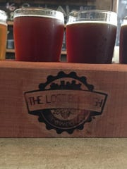 A flight of four beers from The Lost Borough Brewing Company on Atlantic Ave.