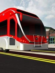 An illustration of a Red Line bus along College Avenue.