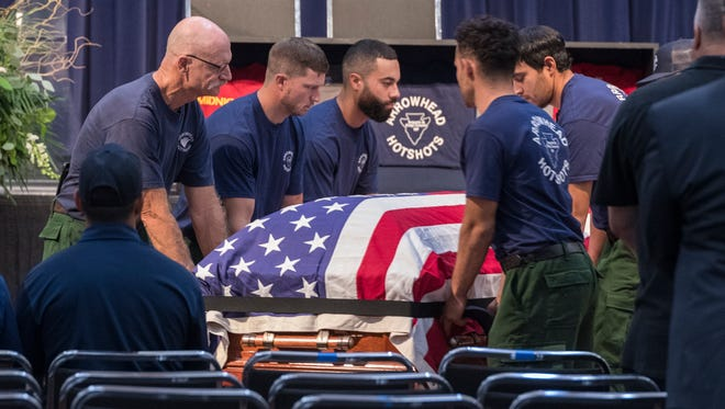 About 1,000 people gathered Saturday, August 4, 2018 at Valdez Hall in Fresno to pay their respects for firefighter Brian Hughes. The Arrowhead Interagency Hotshot Crew Captain died while fighting the Ferguson Fire near Yosemite National Park on July 29, 2018 and was based out of Sequoia and Kings Canyon National Parks.