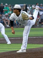 Iowa Park's Chris Dickens pitches against Abilene Wylie