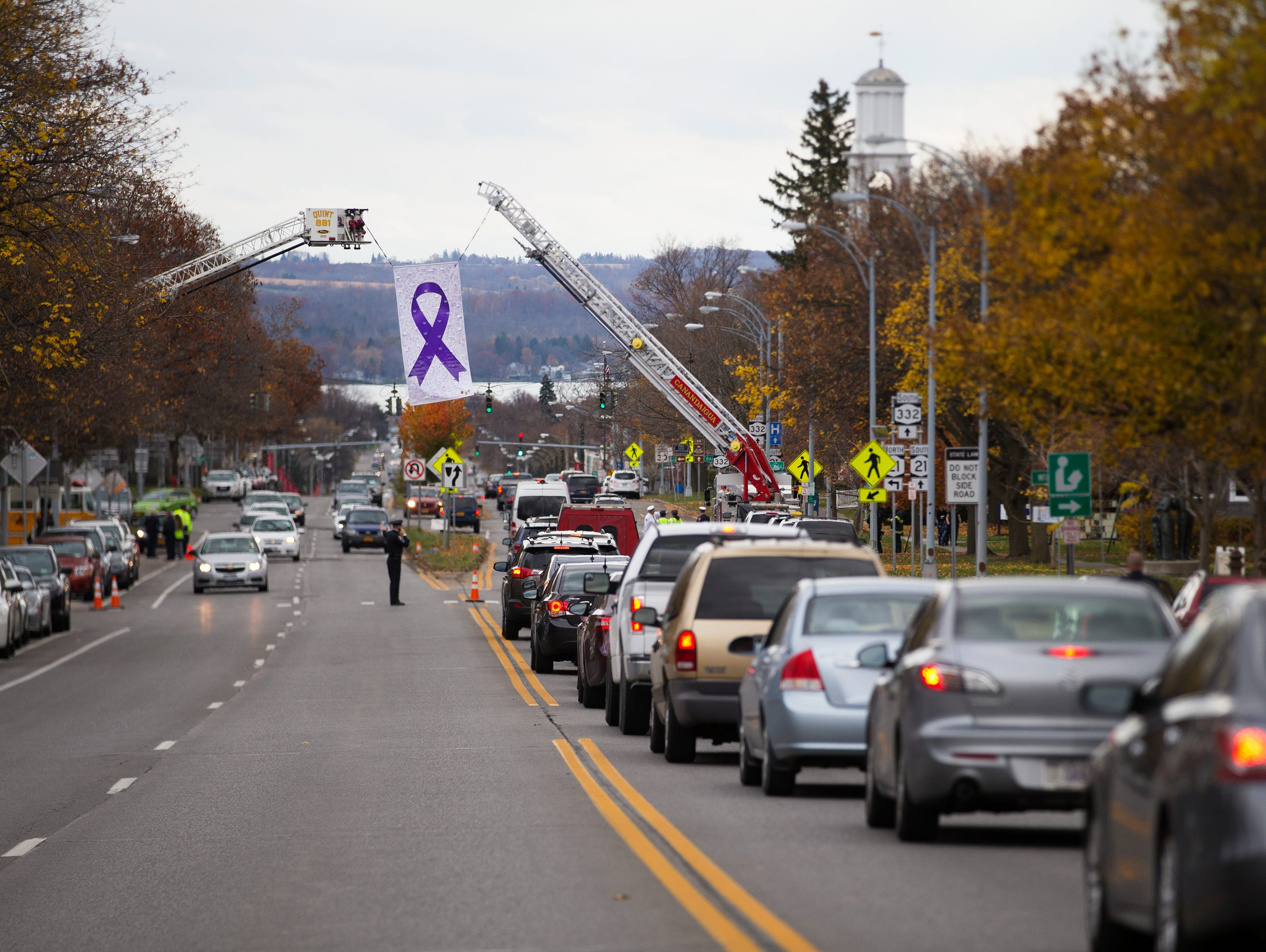 Traffic is backed up leading into downtown Canandaigua prior to Courtney Wagner's funeral on Saturday, November 7, 2015.