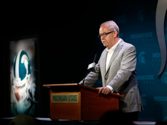 """After charges were announced, we took brief and immediate action,"" MSU Athletic Director Mark Hollis said, Tuesday, June 6, 2017. MSU football players Josh King, Donnie Corley, and Demetric Vance were dismissed from the Spartans team after being charged with sexual assault."