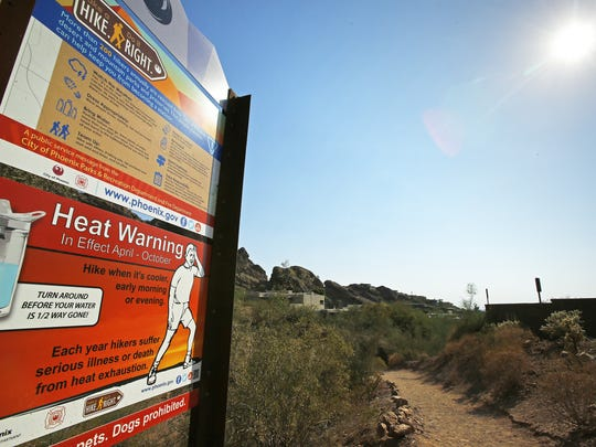 Heat warning sign at the Echo Canyon Trailhead on Camelback
