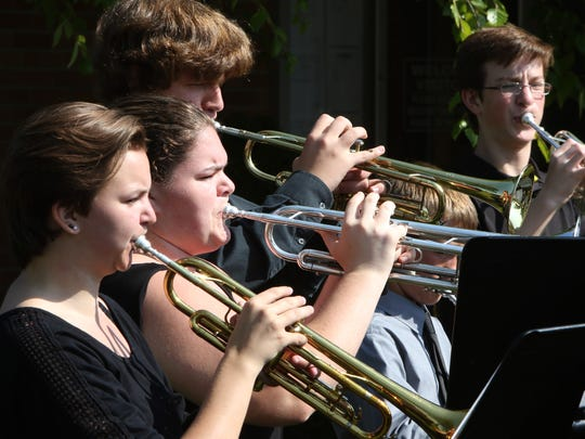 The Grafton High School jazz ensemble performs to open a Sept. 12 groundbreaking ceremony for multiple Grafton School District renovation and addition projects totalling $39.9 million. The ensemble will benefit from expanded and renovated music performance areas in Grafton High School.