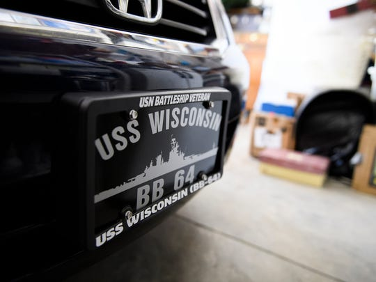 U.S. Navy veteran Leo Hofmeister says his original decorative license plate of the USS Wisconsin was stolen from his vehicle. Only eight plates, including his, were made in a special order in the '90s.