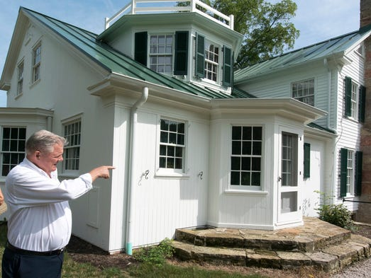 Bob Huge, president of the Malabar Farm Foundation points out projects that have solved the water in the basement problem that has persisted for years. The Malabar Farm Foundation have worked with the State of Ohio to restore Malabar Farm State Park and are continuing to fund projects to make visitors enjoy their time at the park.