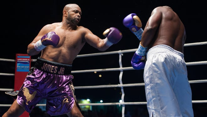 Roy Jones Jr. battles Rodney Moore in his last bout in Pensacola back in August, 2016 against Rodney Moore in Island Fights 38 at the Pensacola Bay Center. Jones, who turned 49, Tuesday, announced he will final for a final time in Pensacola on Feb. 8 in Island Fights 46.
