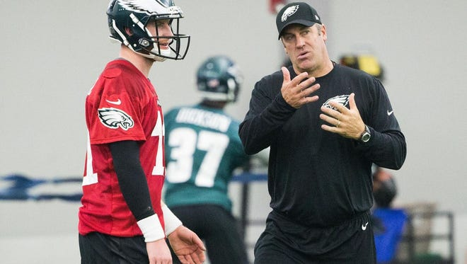 Eagles coach Doug Pederson, right, instructing rookie quarterback Carson Wentz during a recent practice. Pederson is in his first season as a head coach.