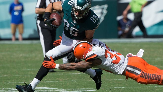 "Eagles tight end Zach Ertz had six receptions for 58 yards in the opener against Cleveland on Sept. 11. He suffered a ""rib displacement"" during the game."