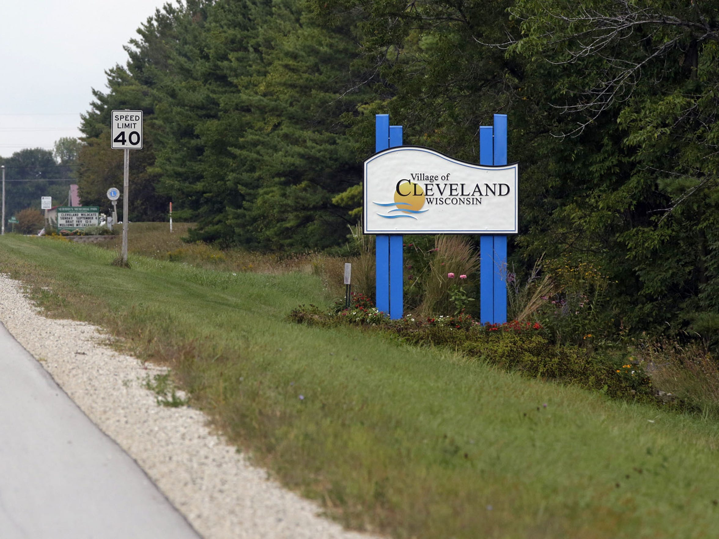 A welcoming to Cleveland sign along Dairyland Drive