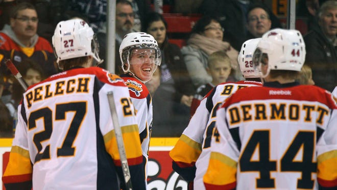 Erie's Connor McDavid, second from left, had three assists against Niagara in a recent OHL game. McDavid is considered by most to be the top draft pick in the 2015 NHL draft.