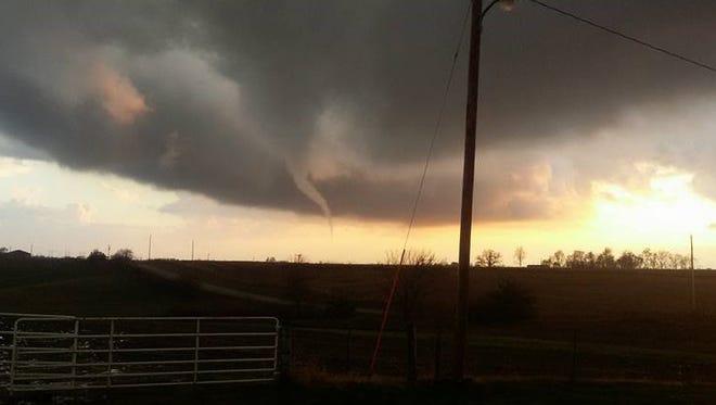 This photo of the tornado was taken southwest of Montezuma.