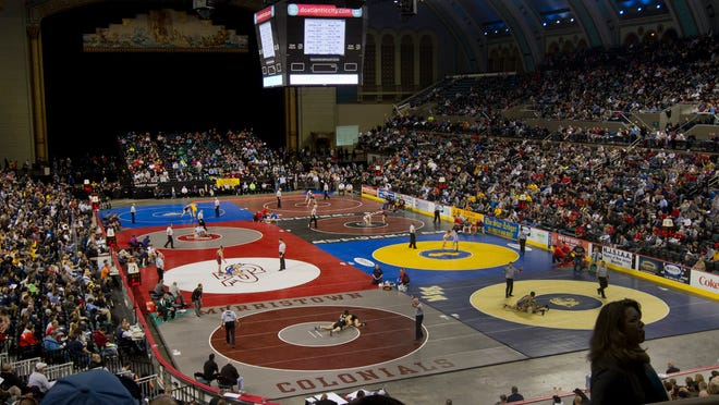 """The scene earlier this month at the NJSIAA Wrestling Championship at Atlantic City's Boardwalk Hall. If a new proposal is adopted by member schools, athletes transferring to a non-public school or an """"""""open enrollment'' public school would be ineligable for postseason tournaments."""