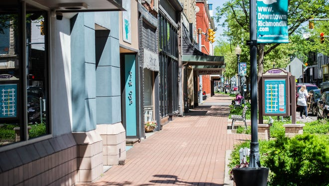 Storefronts in the 800 block of East Main Street in downtown Richmond are seen Tuesday, May 8, 2018.