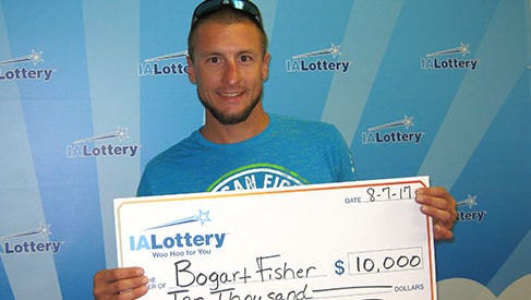 """Bogart Fisher of Garrison claimed the 25th of 35 prizes of $10,000 available in the lottery's """"The BIG Ticket"""" scratch game. He claimed his prize Monday at the lottery's regional office in Cedar Rapids."""