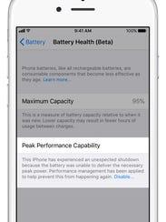Battery health performance