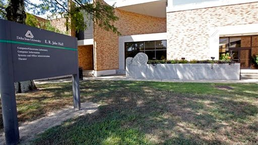A calm exists at E.R. Jobe Hall, where Monday's shooting happened on the Delta State University campus, Tuesday, Sept. 15, 2015, the day after the murder of history professor Ethan Schmidt by another instructor. Police say Shannon Lamb, an instructor at the same school, killed Schmidt in his Jobe Hall office Monday morning. Lamb later died in Greenville of an apparent self-inflicted gunshot wound. (AP Photo/Rogelio V. Solis)