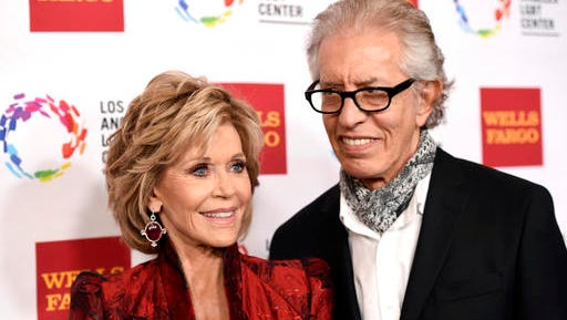 FILE - In this Nov. 7, 2015, file photo, Jane Fonda and Richard Perry pose together at the Los Angeles LGBT Center's 46th Anniversary Gala Vanguard Awards at the Hyatt Regency Century Plaza in Los Angeles. E! News reported on Jan. 24, 2017, that Perry said he and Fonda had ended their romantic relationship.