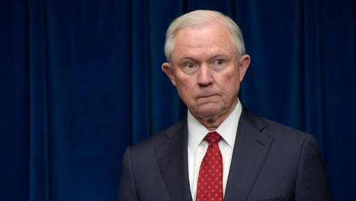 FILE - In this March 6, 2017 file photo, Attorney General Jeff Sessions waits to make a statement at the U.S. Customs and Border Protection office in Washington. Sessions is seeking the resignations of 46 United States attorneys who were appointed during the prior presidential administration, the Justice Department said Friday, March 10, 2017.