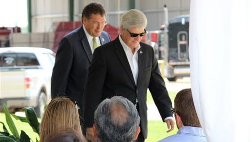 Congressman Greg Harper, left, and Gov. Phil Bryant were the guest speakers at a Monday announcement in Philadelphia, Miss., where officials with Weyerhaeuser Company said they will invest more than $57 million over a three-year period to expand their softwood lumber mill.