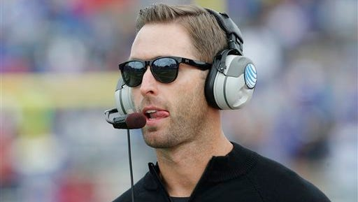 Texas Tech coach Kliff Kingsbury, here, watching play from the sidelines of a game against Kansas, says recruits' moms flirt with him.