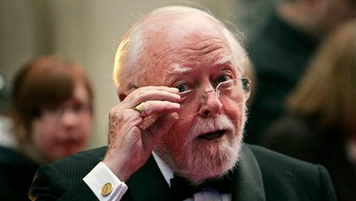FILE - In this Wednesday, April 9, 2008 file photo, British actor and director Richard Attenborough arrives at the Galaxy British Book Awards in London. Acclaimed actor and Oscar-winning director Richard Attenborough, whose film career on both sides of the camera spanned 60 years, died on Sunday, Aug. 24, 2014. He was 90. (AP Photo/Lefteris Pitarakis, File)