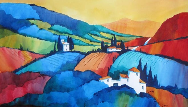"""Tuscan Landscape,"" watercolor by Robert Hoopman, part of the 42nd Juried Annual exhibit at the Miller Art Museum."