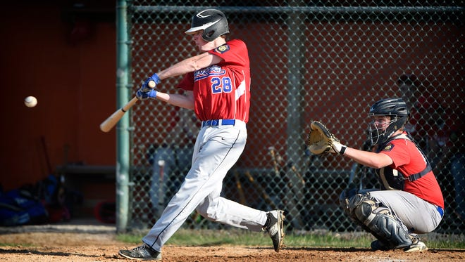 Campbelltown's Bradey Powell connects in the second inning of a 4-0 win over Myerstown in Game 1 of their quarterfinal series Tuesday.