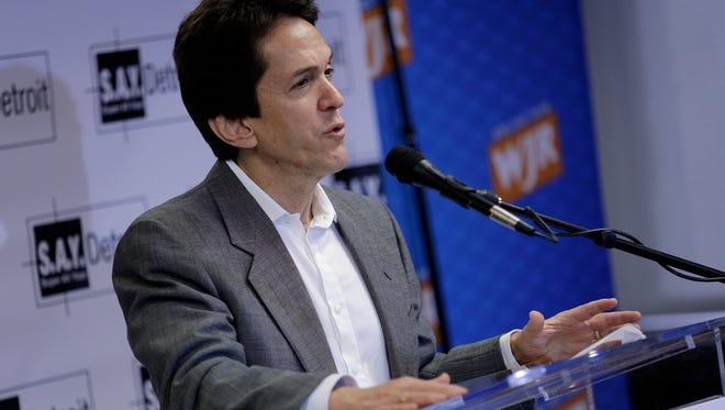 Mitch Albom speaks during a ceremony where 20 area charities accepted checks totaling more than $1 million from donations raised at Mitch Albom's with annual S.A.Y. Detroit Radiothon in December 2016 in Detroit on Tuesday, March 21, 2017.
