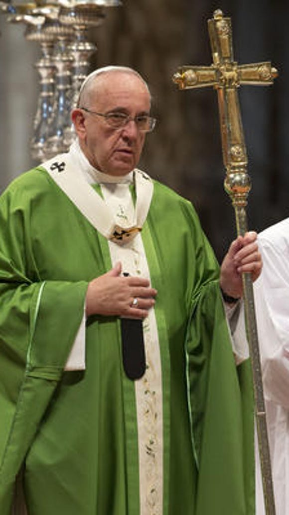 Pope Francis celebrates a Mass of Thanksgiving in St. Peter's Basilica, at the Vatican.