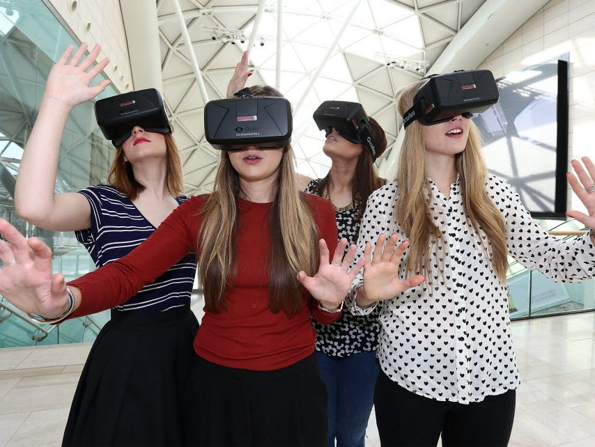 Models at a recent fashion show in London wear the Oculus Rift, the Facebook-owned VR headset whose latest iteration, dubbed Crescent Bay, was on display at the F8 developers conference in San Francisco this week.