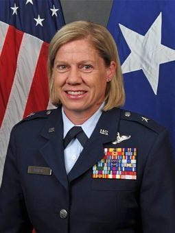 This photo provided by the U.S. Air National Guard shows Brig. Gen. Christine M. Burckle. The Salt Lake Tribune reports that Col. Burckle will be promoted to brigadier general and take command of the Utah Air National Guard on Saturday. Her promotion will be marked with a ceremony at Wright air National Guard Base in Salt Lake City. Burckle will be the Utah National Guard's first female general and will command 1,400 airmen in the 151st Air Refueling Wing.