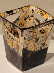 "Ceramic ""Splatter Vase"" by Colby Cormier of Sevastopol High School, part of the 42nd Annual Salon of Door County High School Art opening April 23 at the Miller Art Museum in Sturgeon Bay."