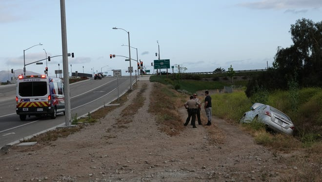 One car went off the road Sunday evening near the Springville onramp to northbound Highway 101 in Camarillo. No one was seriously hurt.