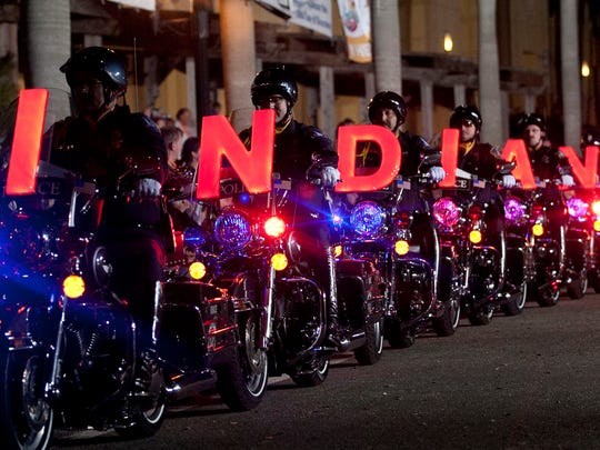 The popular Indianapolis Metropolitan Police Motorcycle Drill Team returns for Saturday's parade.