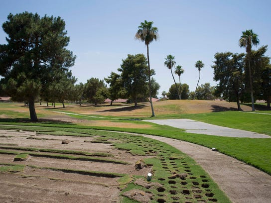 An area where sod was stripped away at Ahwatukee Lakes