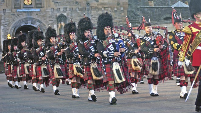 The Pipes and Drums of the Scots Guards have performed at military ceremonies around the world.