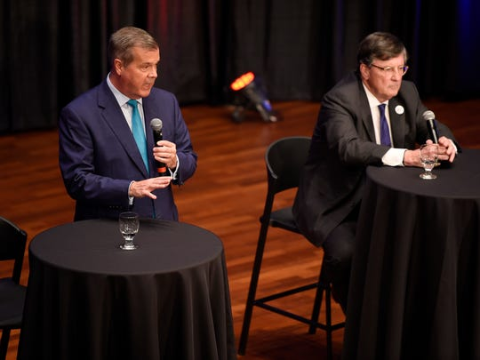 Former Nashville Mayor Karl Dean speaks as House Minority Leader Craig Fitzhugh, D-Ripley, listens at the Tennessee Democratic gubernatorial debate Tuesday, June 19, 2018, at Belmont University's McAfee Concert Hall in Nashville, Tenn.