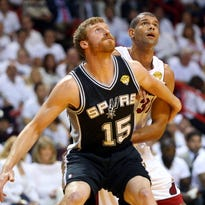 MIAMI, FL - JUNE 06:  Matt Bonner #15 of the San Antonio Spurs boxes out Shane Battier #31 of the Miami Heat in the second quarter during Game One of the 2013 NBA Finals at AmericanAirlines Arena on June 6, 2013 in Miami, Florida. NOTE TO USER: User expressly acknowledges and agrees that, by downloading and or using this photograph, User is consenting to the terms and conditions of the Getty Images License Agreement.  (Photo by Mike Ehrmann/Getty Images)